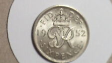 More details for 1952 sixpence. unc. full lustre. vr thus. cupro-nickel. george vi. british. 1938