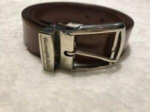 Ermenegildo Zegna Brown/Silver Leather Belt Sz 40