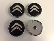 Set of 4 CITROEN Face 60mm Clip 57mm ALLOY WHEELS CENTER CAPS SET , Black,