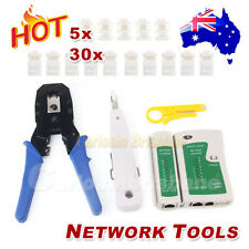 Network LAN RJ45 CAT5E RJ11 Cat6 PC Cable Tester Kit Crimper Stripper Punch Tool