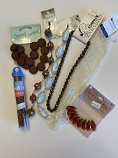 Bead Lot Brown, Dark Topaz, White Seed And Glass Jewelry Bead Lot