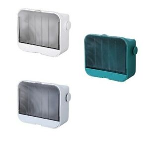 Drain Soap Box with Flip Lid Waterproof Easy to Clean Wall Mounted for Bathroom