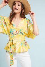 Anthropologie Yumi Kim Silk Floral Wrap Blouse Top Sz Medium Petite