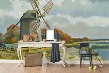 3D Windmill Landscape Oil Painting Wallpaper Wall Murals Removable Wallpaper 542