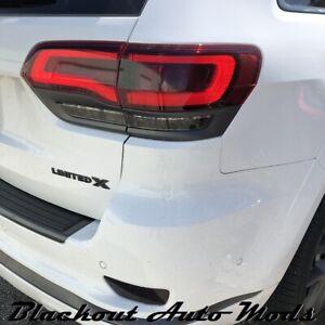 2014-2021 Grand Cherokee Tail Light Dark Smoke Vinyl Overlay Track Hawk Style