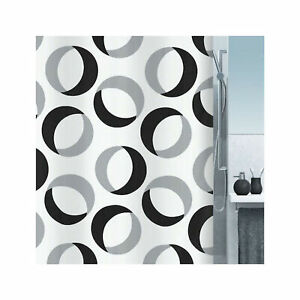 Spirella Rings Grey-Black Textile Shower Curtain 180 x 200 Cm. Branded Swiss