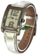 $195 Lacoste Women's Andorra Silver Leather Strap Watch 2000652 NWT