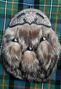 ST Men's Scottish Full Dress Leather Kilt Sporran Fox Fur Thistle Cantle Antique