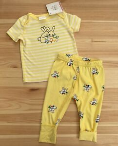 NWT HANNA ANDERSSON Yellow Stripe Top & Pants Outfit Bunnies Size 60 3-6 Months