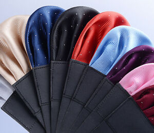 Luxury Men's Pre-folded Pocket Square Silver Polka Dot Handkerchiefs Chest Towel