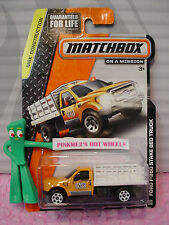 2014 Matchbox #114 FORD F-350 STAKE BED TRUCK☆Orange/White ☆CONSTRUCTION☆