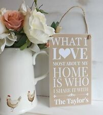 HANDMADE Home Plaque, Sign, What I love About My Home, Personalised Housewarming