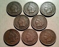 Mixed Dates 1800s 1900's INDIAN HEAD CENTS Collection 8 Coin Lot / Partial Roll