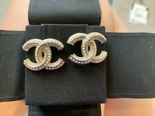 CHANEL NWT Gold CC Crystal Strass Earrings RARE Large Stud Comes W/ Receipt