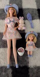 B3, Barbie & Kelly Easter dolls, dress, shoes, tights, hat, bunny, & basket, GUC