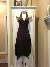 BEBE Silk Rayon Party Evening Formal Dress • M Medium •Two-Tone Brown• Sharkbite