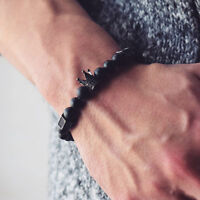Men Black Stone Crown Beaded Cuff Charm Wristband Bangle Bracelet Jewelry XJ