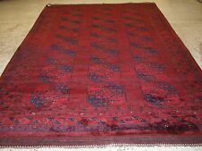 OLD TRADITIONAL AFGHAN ERSARI VILLAGE CARPET, VERY DEEP RICH RED, CIRCA 1920.