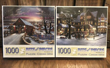 2 Jigsaw Puzzle Lot - 1000 Pieces Bits And Pieces Home Again And The Carolers