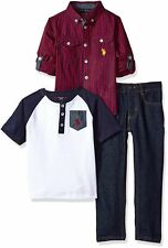 Designer Brand Boys 3PC Set Red Blue Size 7 Denim Jeans Plaid T-Shirt $65 133