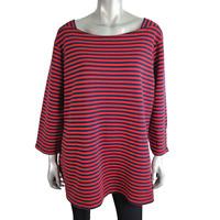 Croft & Barrow Womens Top Plus Sz 2X Red & Navy Striped Zipper 3/4 Sleeve Cotton