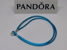 New Pandora Turquoise Medium 7.1 in S2 Silky Cord Bracelet Heart Clasp 590749CTQ