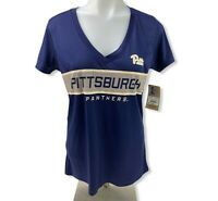 RIVALRY THREADS WOMENS Sz SM PITTSBURGH PANTHERS ATHLETIC V-NECK TOP SHIRT BLUE