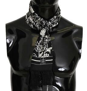 DOLCE & GABBANA Scarf Black Floral Silk Fringes Shawl 16cm x 140cm