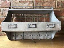 Industrial Metal Storage Shelf Unit 5 Hooks Vintage Style Floating Wall Basket