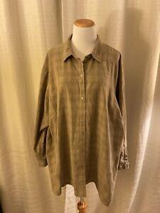 J. Jill Long Sleeve Corduroy Button Front Blouse Brown Tan Top Plus 4X 4XL