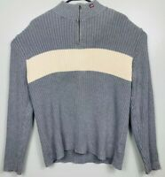 Polo Jeans Ralph Lauren 1/4 Zip Sweater RL Flag Logo Mens XL Gray White EUC