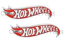 Hot Wheels Red Chrome Side Fender Lid Hood Badge Emblem Decal Sticker PAIR 2x