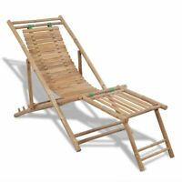 vidaXL Deck Chair Bamboo w/ Footrest Patio Garden Outdoor Reclining Sunlounger✓