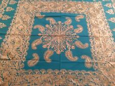 Gold tambour lace on green jade tablecloth & 6 napkins (Rare gift)