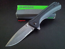 "Schrade 4.6""Liner Lock Drop Point Combo Edge SCH502S Folding Pocket Knife EDC"