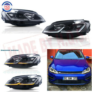 LED Head Lamps For 2013-2018 Volkswagen Golf 7 VW w/ Dynamic Indicator Headlight