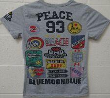 Blue Moon Blue BMB Original Wear Surfing Peace 93 T Shirt Medium Gray Rare Cool