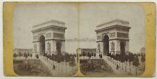 Paris Arc de triomphe et au dos Femme snapshot 2 Photos Vintage Stereo