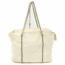 CHANEL Tote Bag COCO Chain Cream Leather 1710494