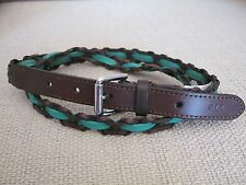 Ralph Lauren Skinny Belt Green Leather Knotted Woven Braided L 41220324902J NEW