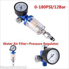 0-180Psi Air Pressure Regulator Gauge Spray Gun & In-Line Water Trap Filter Tool