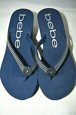 New without the tags Bebe Rhinestone Eva Wedge Flip Flop Sandal Size 8 blue