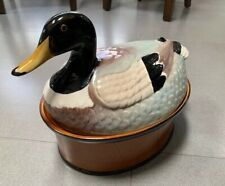 "VINTAGE DUCK TUREEN FROM ""SECLA"" PORTUGUESE POTTERY, GLAZED CERAMIC CASSEROLE"
