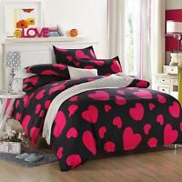 Heart Red Single Double Queen King Size Bed Set Pillowcase Quilt Duvet Cover