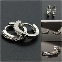 925 Sterling Silver Sleeper Hoop Earrings Hooped Crystal Quality Gift UK