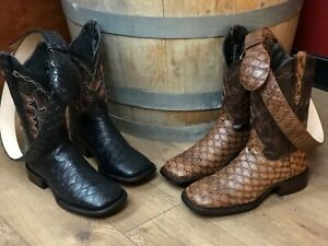 MEN'S RODEO COWBOY BOOTS OSO HORMIGUERO PRINT LEATHER WITH BELT