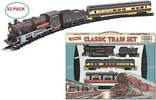 X2 Set Kids Classic Train Set Battery Operated Toy With Tracks Engine Carriages