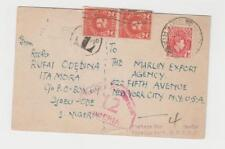 NIGERIA -USA 1939 POSTAGE DUE CENSOR CARD, 1d RATE+4c US DUES (SEE BELOW)