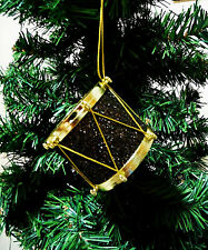 CHRISTMAS ORNAMENT MUSIC INSTRUMENT. DRUM INSTRUMENT ORNAMENT.BLACK & GOLD