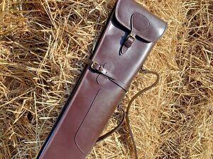 """Luxurious Genuine Real Brown Leather Shotgun Slip Case 45-52"""" Gun Case"""